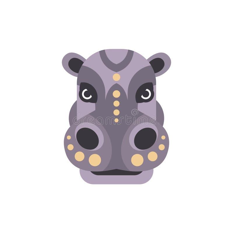 Stileerden de Hippo Afrikaanse Dieren Geometrisch Hoofd vector illustratie