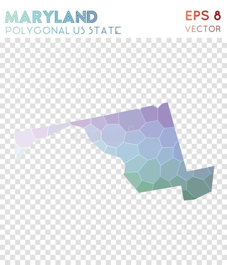 Stileert de veelhoekige kaart van Maryland, mozaïek ons staat royalty-vrije illustratie