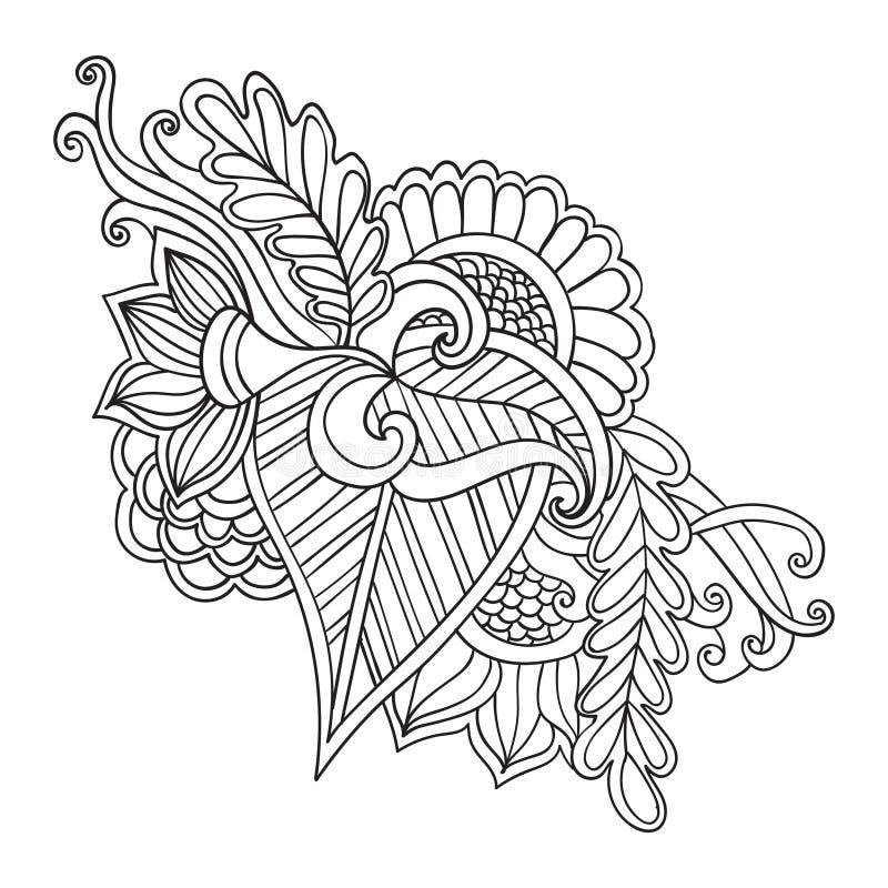 Stileert het hand getrokken artistieke etnische sier gevormde bloemenkader in krabbel, zentangle, volwassen kleurende pagina's, t vector illustratie