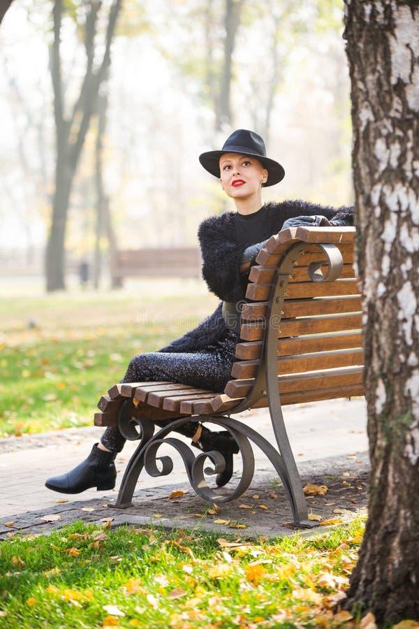 Stilfrau im Herbstpark stockbild