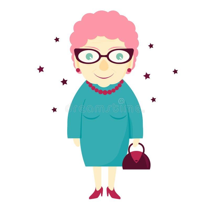 Stilfull älskvärd gullig farmor med en handväska kvinna för åldringögonfokus Den gamla damen stock illustrationer