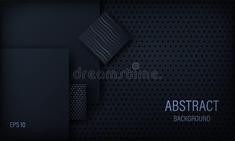 Stilfull abstrakt bakgrund, tapet, svart och blått med fyrkantiga beståndsdelar med silvercirklar och linjer vektor illustrationer