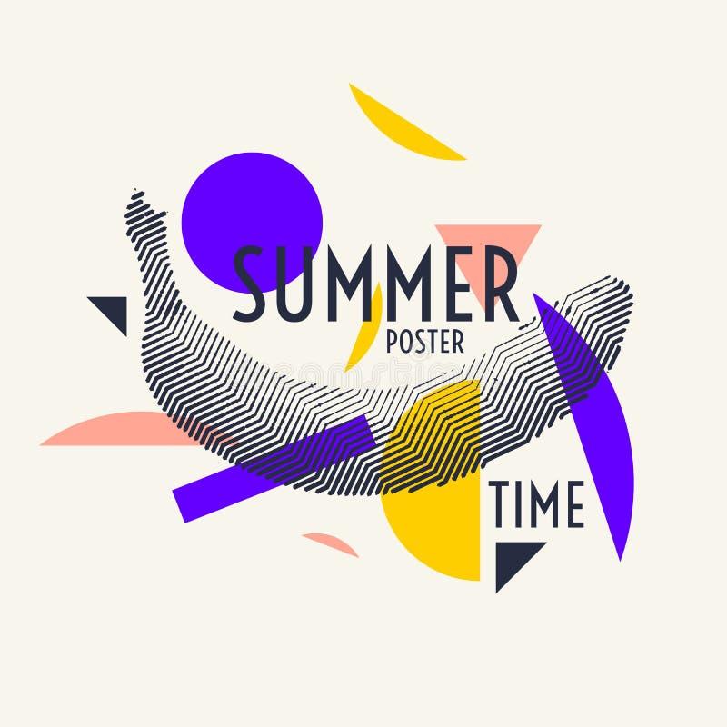 Stilfull affisch för sommartid, moderiktiga diagram royaltyfri illustrationer