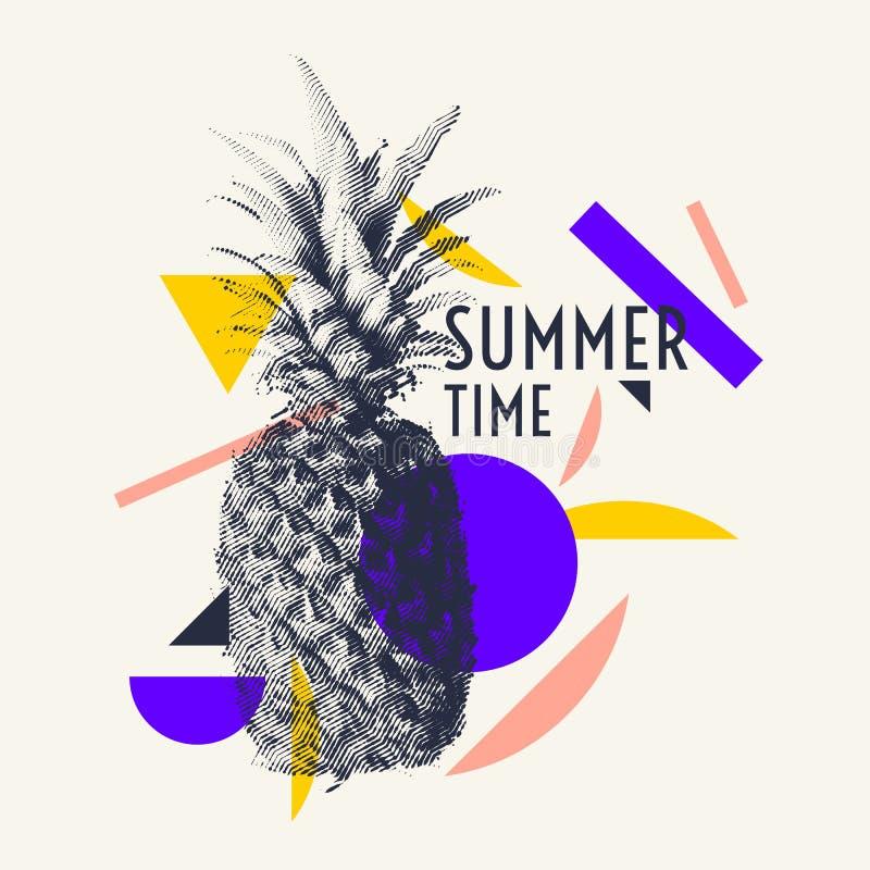 Stilfull affisch för sommartid, moderiktiga diagram stock illustrationer
