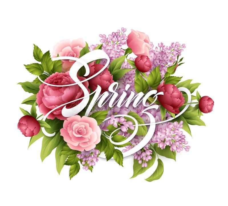 Stilfull affisch med härliga blommor och vårbokstäver Lilan steg, pionblommabuketten också vektor för coreldrawillustration stock illustrationer