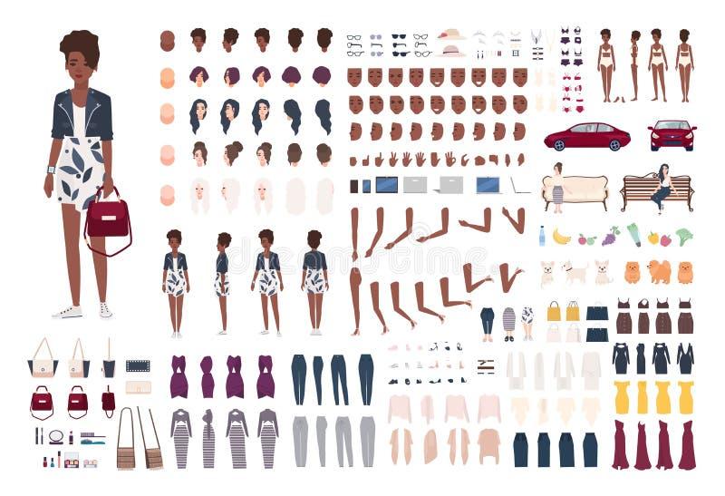 Stilfull afrikansk amerikankvinnakonstruktör Moderiktig flickaskapelseuppsättning Olika ställingar, frisyr, framsida, ben, händer vektor illustrationer