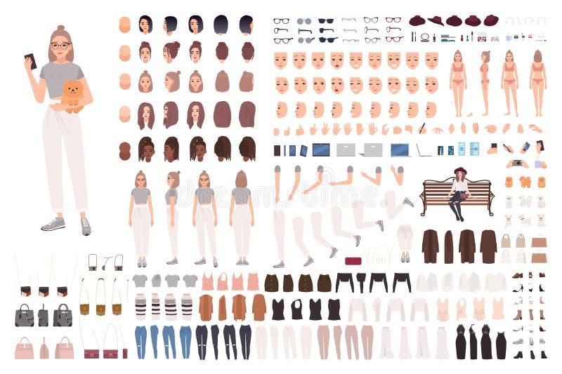 Stilfull animeringuppsättning för ung kvinna eller konstruktörsats Samling av kroppsdelar, gester, moderiktig kläder och tillbehö stock illustrationer