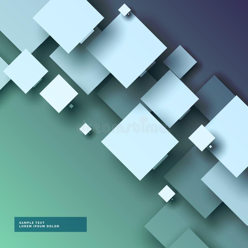 Stilfull bakgrund för abstrakt begrepp 3d med fyrkanter vektor illustrationer