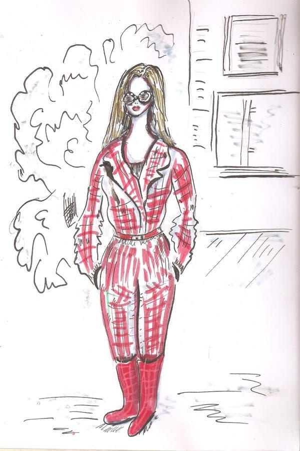 Stilfull blond flicka i modekläder Räcka den utdragna härliga flickan fashion kvinnan skissa illustration stock illustrationer
