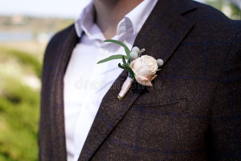 Stilfull brudgum i brun dräkt och den vita skjortan med flugan och boutonniere av den vita rosen close upp royaltyfria bilder