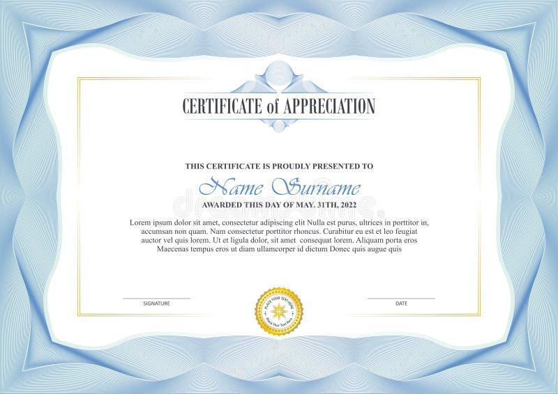 Stilfull certifikatram med Guillochegränsdesign royaltyfri illustrationer