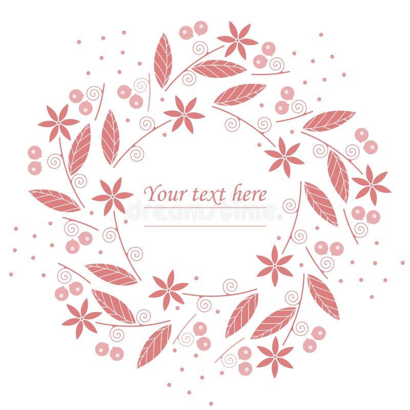 Stilfull cirkelram med röda blommor och bär på vit backg royaltyfri illustrationer