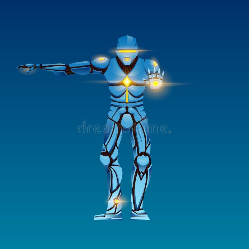 Stilfull Cyborgman Humanoid robot med konstgjord intelligens, AI teckenet visar gester royaltyfri illustrationer