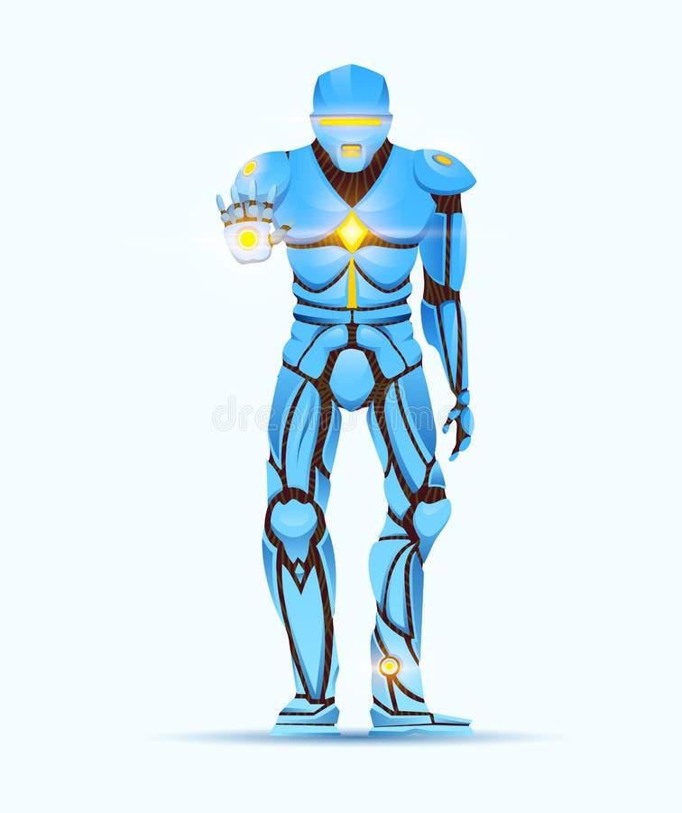 Stilfull Cyborgman Humanoid robot med konstgjord intelligens, AI teckenet visar gester Manliga Android, futuristiskt stock illustrationer
