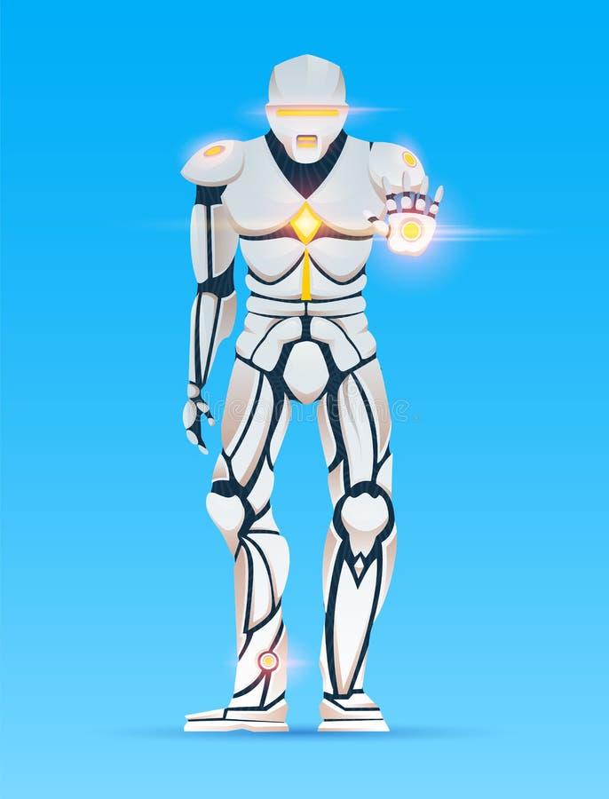 Stilfull Cyborgman Humanoid robot med konstgjord intelligens, AI teckenet visar gester Manliga Android, futuristiskt royaltyfri illustrationer