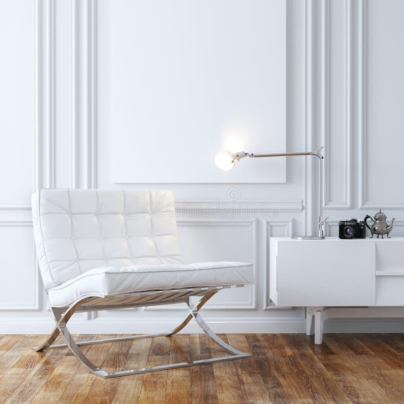 Stilfull fåtölj för vitt läder i klassisk inredesign royaltyfri fotografi
