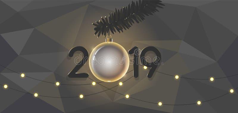 Stilfull filialer för design för nytt år 2019 för bakgrund härliga av leksaker för prydligt och nytt år stock illustrationer