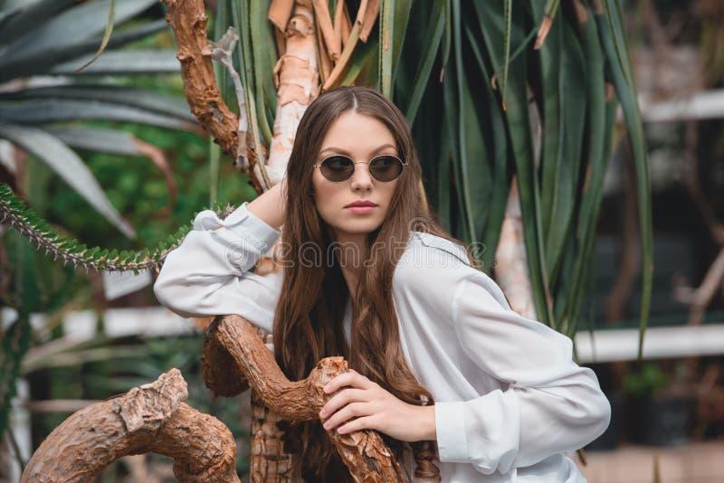 stilfull flicka i moderiktig solglasögon som poserar i tropisk trädgård royaltyfri bild