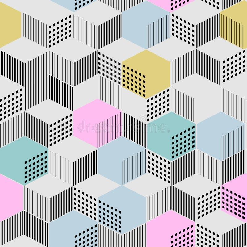 Stilfull geometrisk prydnad från kubik från linjer och färgfyllning stock illustrationer