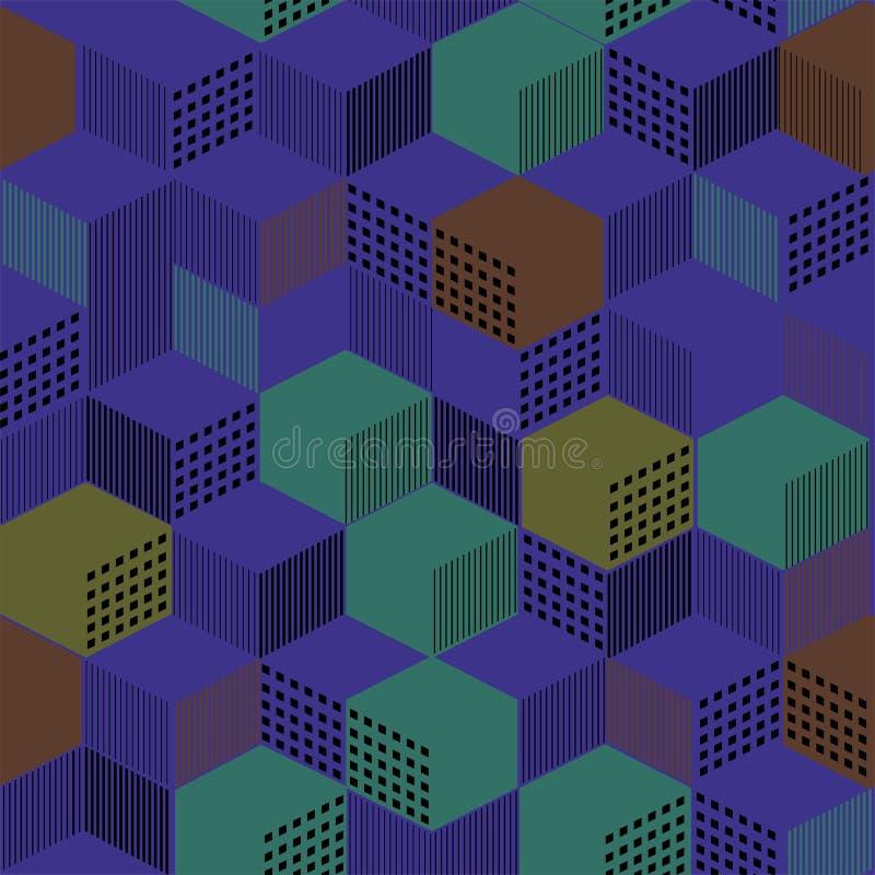Stilfull geometrisk prydnad från kubik från linjer och färgfyllning vektor illustrationer