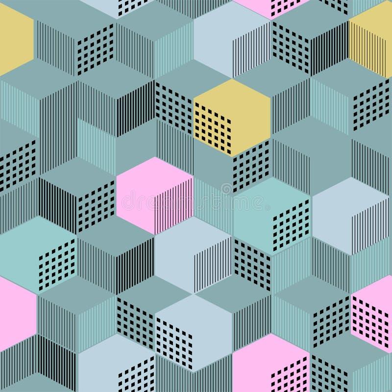 Stilfull geometrisk prydnad från kubik från linjer och färgfyllning royaltyfri illustrationer