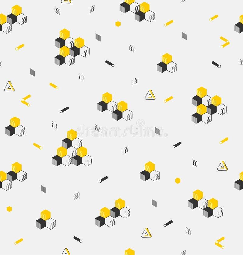 Stilfull geometrisk prydnad från kubik- och sexhörniga cylindrar vektor illustrationer