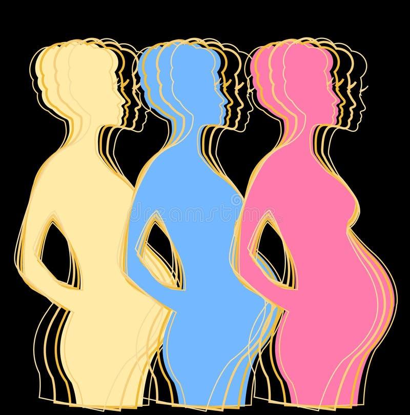 Stilfull gravid kvinnavektorillustration stock illustrationer