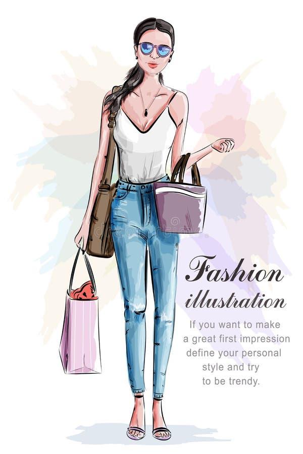 Stilfull härlig kvinna med shoppingpåsar skissa Hand dragen flicka i modekläder stock illustrationer