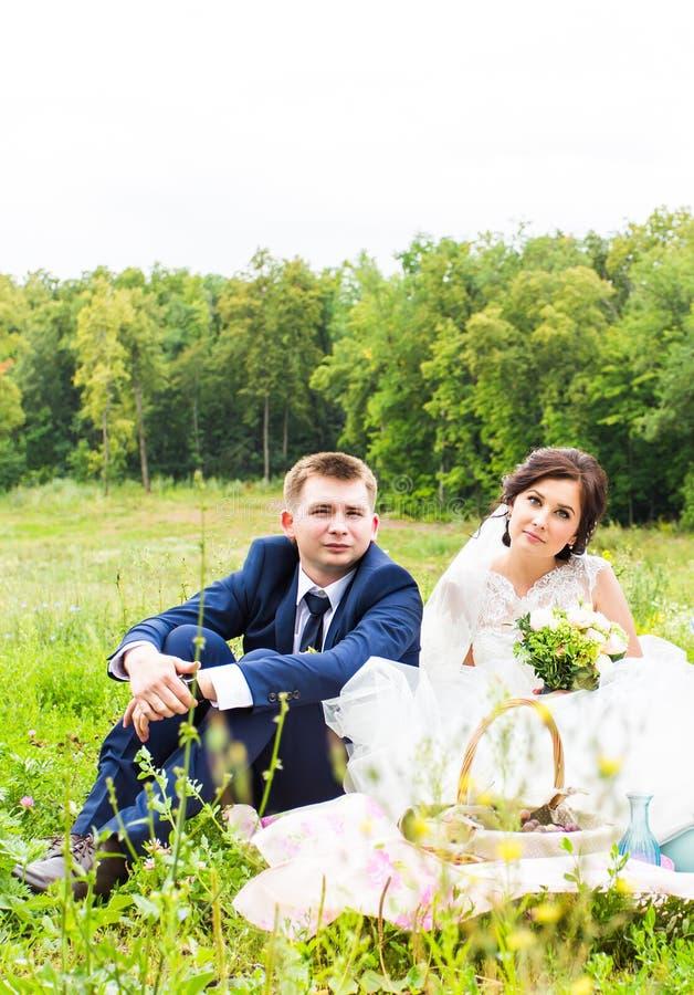 Stilfull härlig lycklig brud och brudgum som gifta sig berömmar arkivfoto