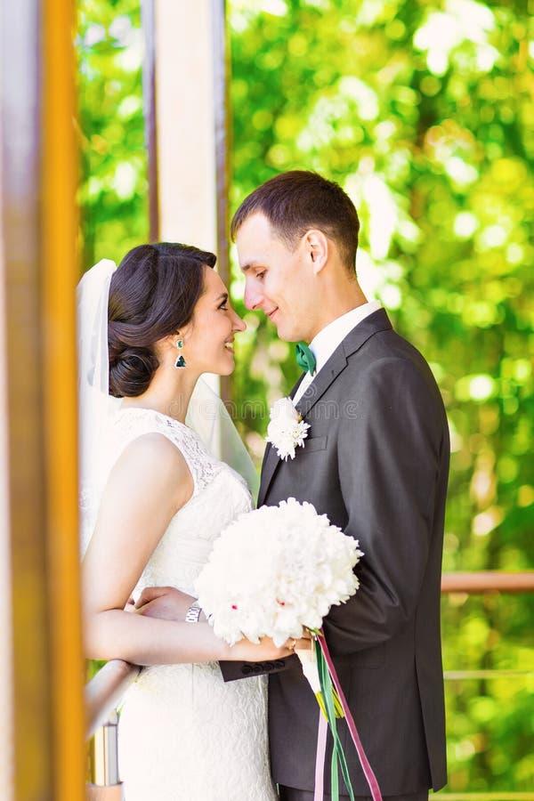 Stilfull härlig lycklig brud och brudgum som gifta sig utomhus- berömmar arkivfoton