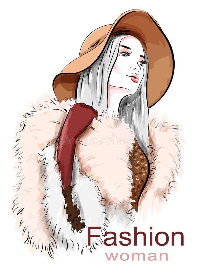 Stilfull härlig ung kvinna i hatt skissa Hand dragen flicka i pälslag Text och teckning av flickan vektor illustrationer