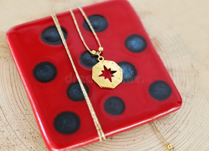 Stilfull halsband på rött exponeringsglas med den guld- hängekompasset - nautiska smycken arkivbild