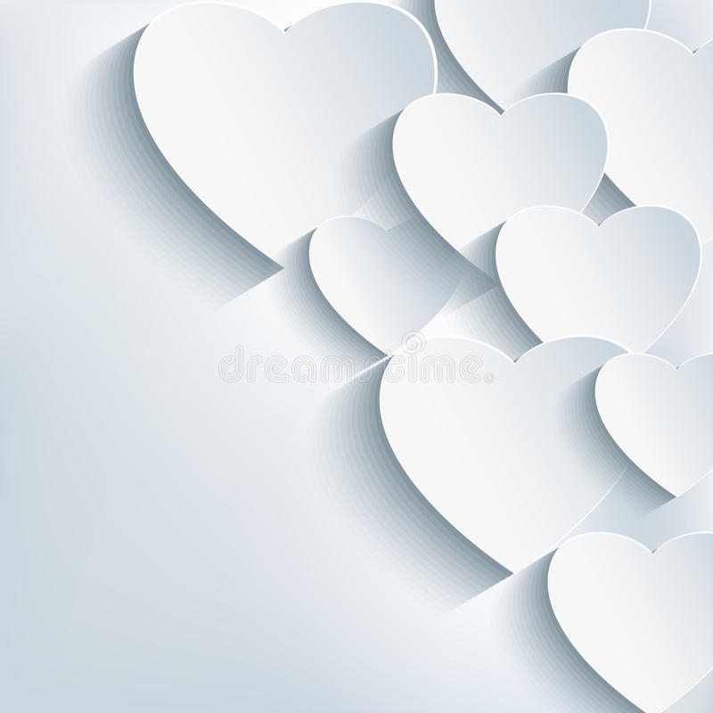 Stilfull idérik abstrakt bakgrund, hjärta 3d vektor illustrationer