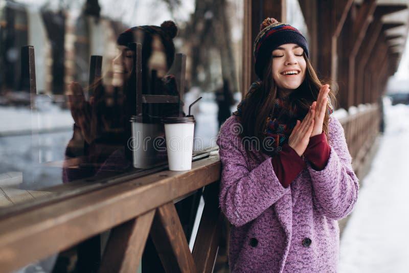 Stilfull innegrej för stående och härlig flicka i snöig väder royaltyfria bilder
