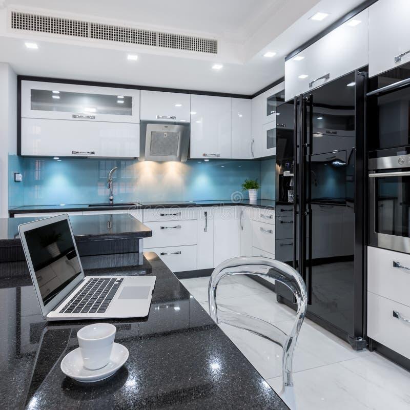 Stilfull kökinre i vitt och svart fotografering för bildbyråer