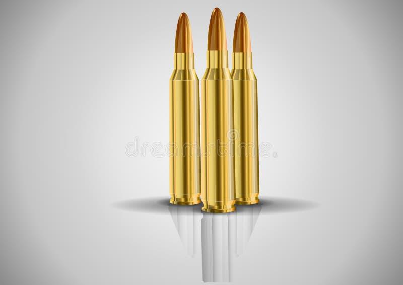 Stilfull kassett Levande kassett Vektorbild av en uppsättning av ammunitionar royaltyfri illustrationer