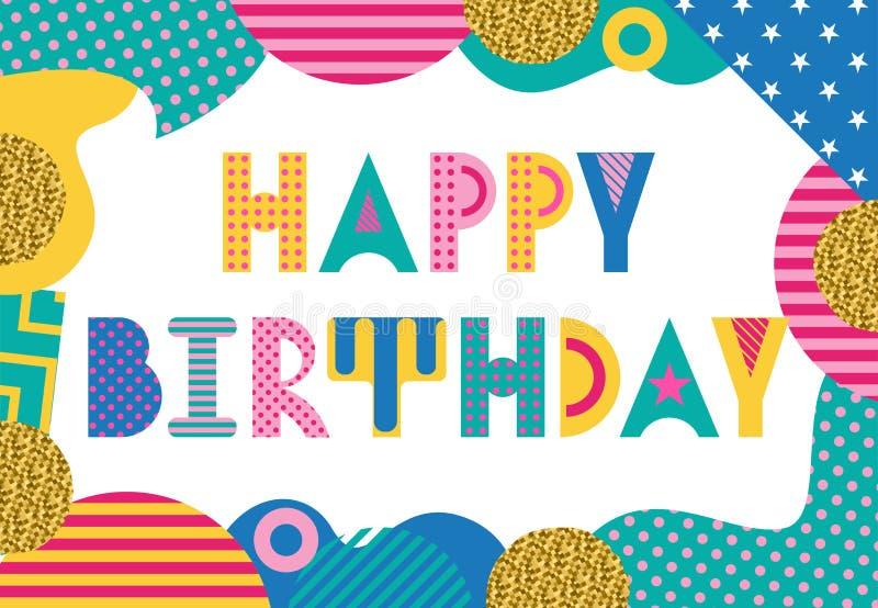 stilfull korthälsning lycklig födelsedag Moderiktig geometrisk stilsort i memphis stil stock illustrationer