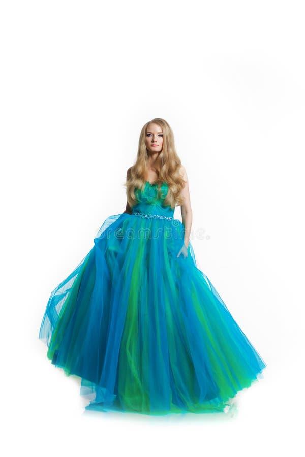 stilfull kvinna för blå klänning royaltyfria bilder