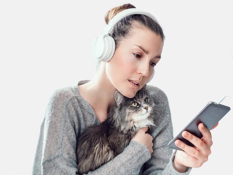 Stilfull kvinna, mobiltelefon och försiktig kattunge arkivbild