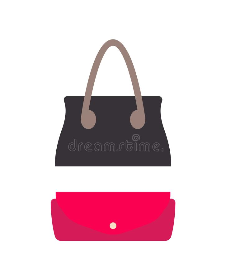 Stilfull kvinnlig läderhandväska och liten handväska royaltyfri illustrationer