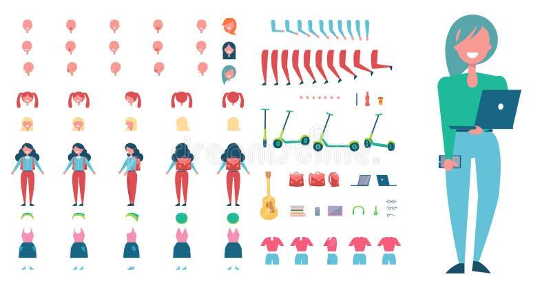 Stilfull kvinnlig student Constructor med bärbara datorn stock illustrationer