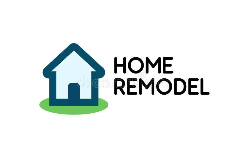 Stilfull logo för husreparationsaffären, vektoremblem som isoleras på vit bakgrund vektor illustrationer