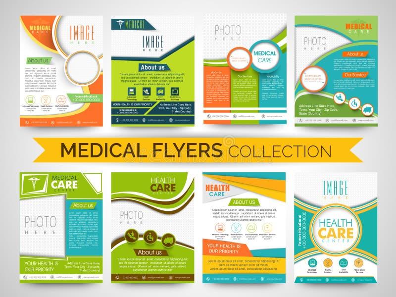 Stilfull medicinsk reklamblad-, mall- eller broschyrsamling royaltyfri illustrationer