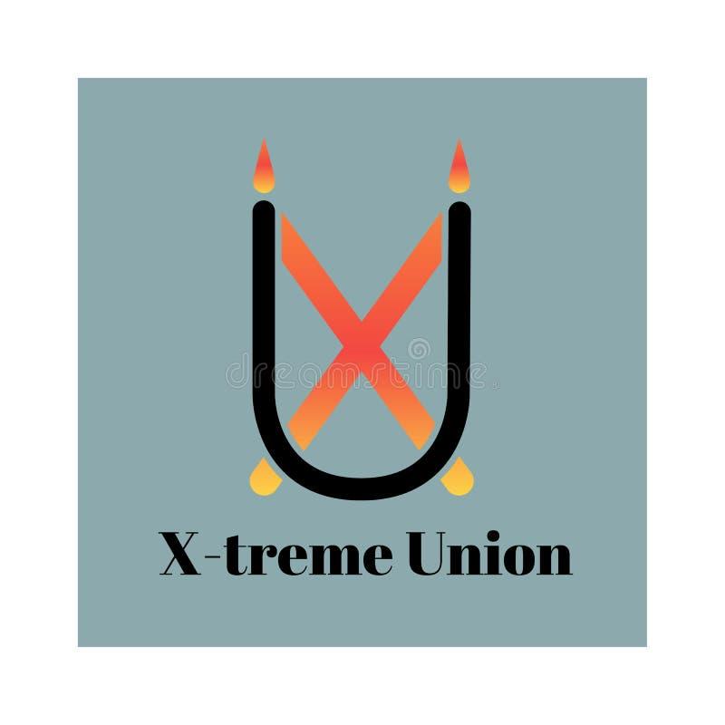 Stilfull monogram eller logo på grå bakgrund färgrik illustration Bild av bokstäver X och U Kan användas i designen av royaltyfri illustrationer