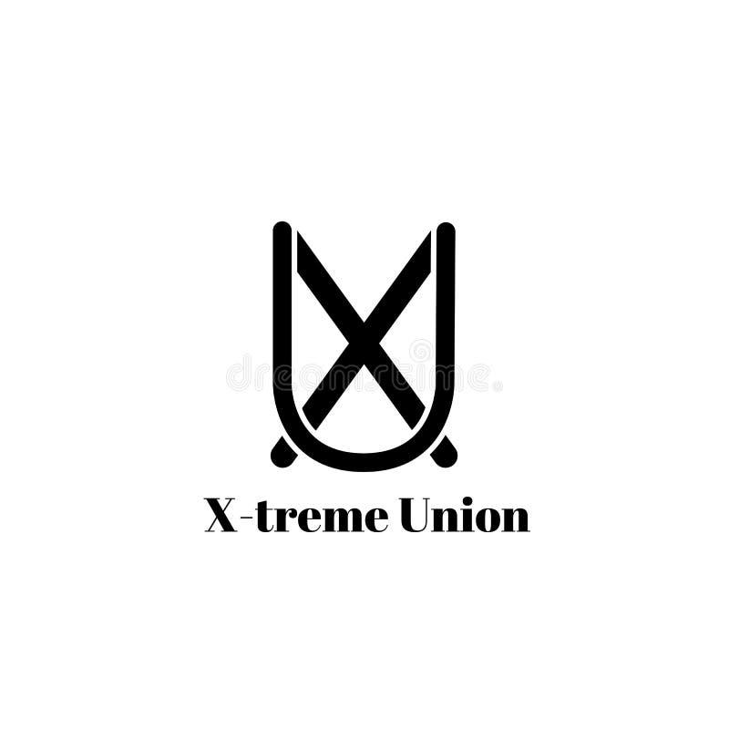 Stilfull monogram eller logo som isoleras på vit bakgrund svart white Bild av bokstäver X och U stock illustrationer