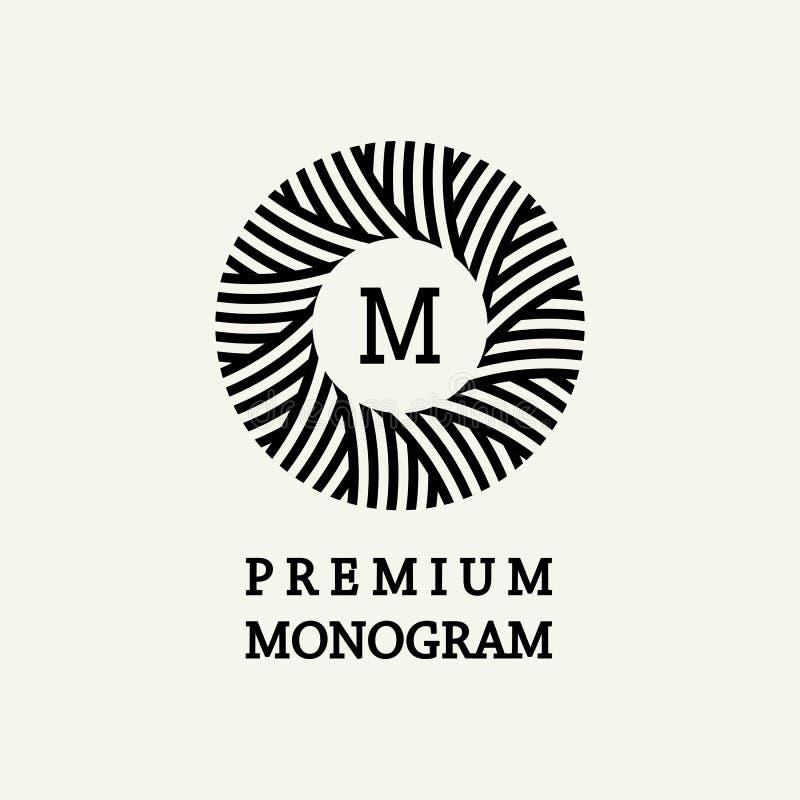 Stilfull och behagfull blom- monogramdesign stock illustrationer