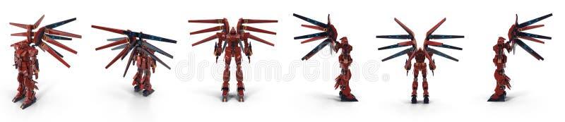 Stilfull röd robot som isoleras på den vita illustrationen 3D vektor illustrationer