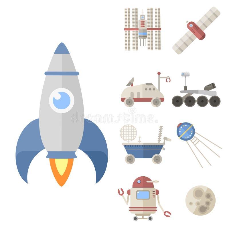 Stilfull raket för astronaut för anslutning för vetenskap för meteor för teknologi för universum för kosmos för radar för astrolo royaltyfri illustrationer