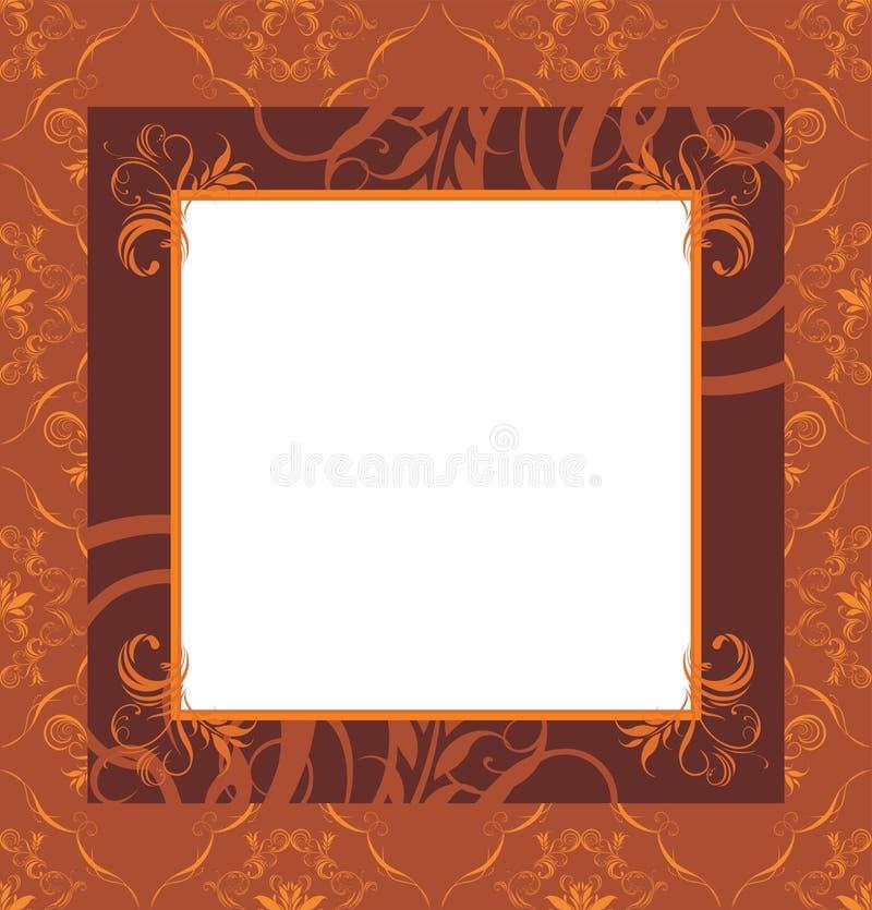 Stilfull retro brun ram stock illustrationer