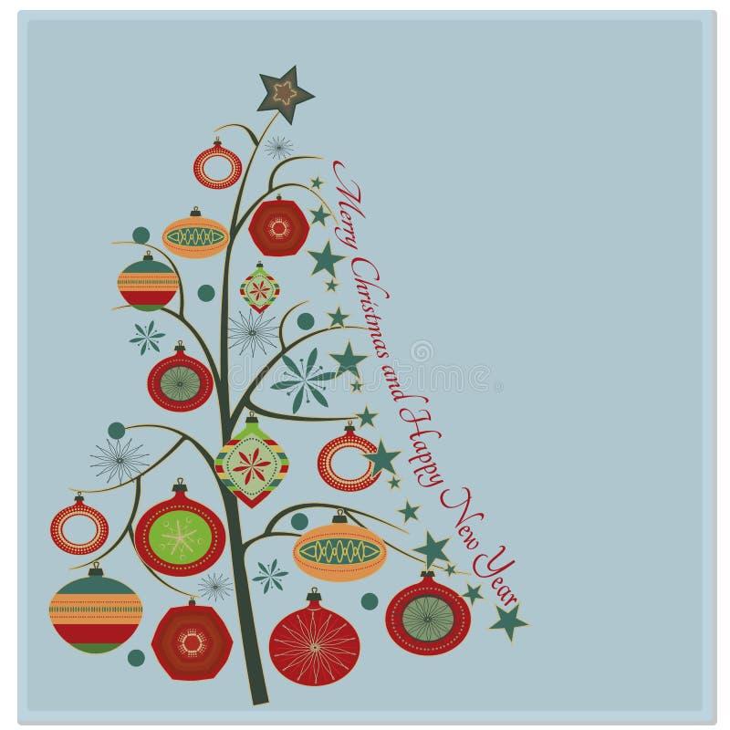 Stilfull retro julgran stock illustrationer